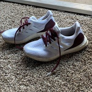 Adidas ultraboost white and maroon shoes